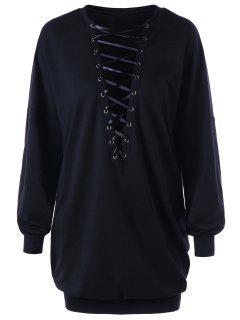 Plunging Lace Up Sweatshirt - Black Xl