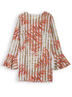 Robe Tunique Imprimée Feuilles à Rayures - S