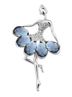 Sparkly Rhinestone Faux Gem Fairy Brooch - Blue