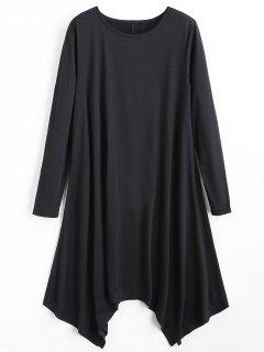 Long Sleeve Plain Asymmetric Dress - Black Xl
