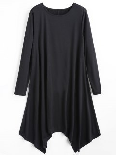 Long Sleeve Plain Asymmetric Dress - Black L