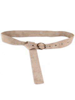 Retro Metal Round Buckle Waist Belt - Off-white
