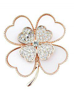 Rhinestone Clover Love Heart Brooch - White