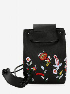 Embroidery Flower Drawstring Crossbody Bag - Black