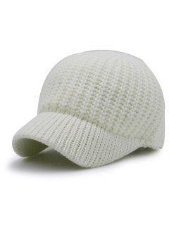 Plain Ribbed Knit Baseball Hat - White
