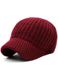 Plain Ribbed Knit Baseball Hat - Wine Red