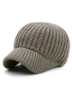 Plain Ribbed Knit Baseball Hat - Khaki