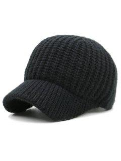 Plain Ribbed Knit Baseball Hat - Black