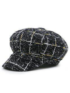 Grid Pattern Casual Newsboy Hat - Black