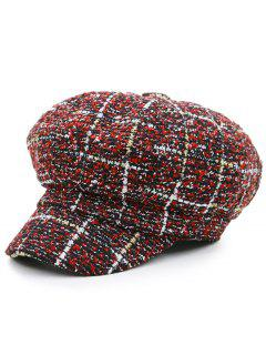 Grid Pattern Casual Newsboy Hat - Red