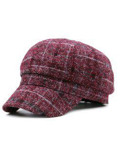 Plaid Pattern Newsboy Hat - Red