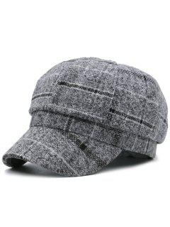 Plaid Pattern Newsboy Hat - Gray