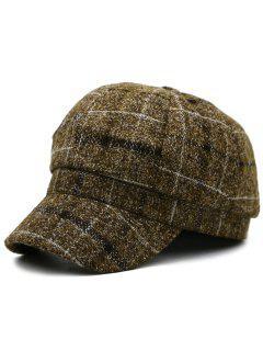 Plaid Pattern Newsboy Hat - Coffee