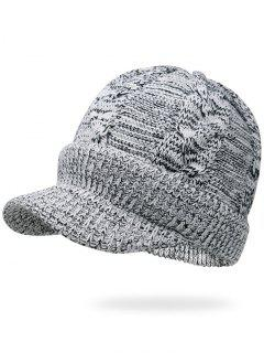 Mixcolor Cable Knit Military Hat - Black White