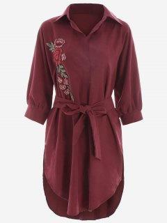 Floral Patched Belted High Low Shirt Dress - Deep Red Xl
