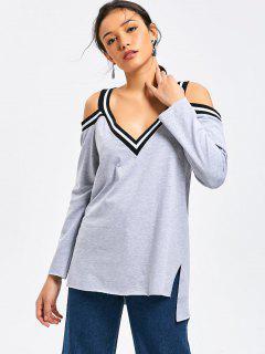 V Neck Side Slit Cold Shoulder Sweatshirt - Gray Xl