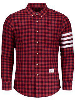 Chemise Vichy à Boutons  - Rouge 2xl