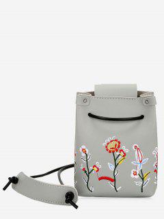 Embroidery Flower Drawstring Crossbody Bag - Gray