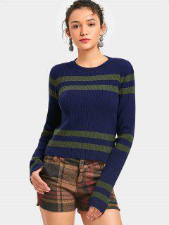 Gestreifter Kontrast-Pullover - Dunkelblau
