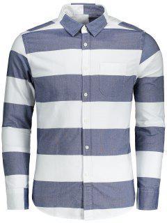 Button Down Striped Shirt - Blue And White Xl