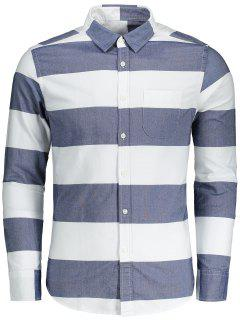 Button Down Striped Shirt - Blue And White L