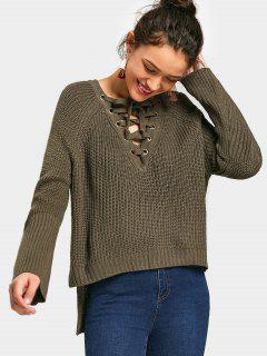 Side Slit Lace Up High Low Sweater - Army Green