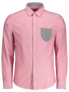 Chemise Boutonnée à Poche - Rose Clair L