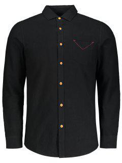 Button Down Pocket Plain Shirt - Black 4xl