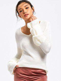 Layered Sleeve V Neck Sweater - White M