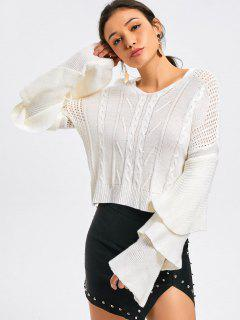 Layered Sleeve Cable Knit Panel Sweater - White M