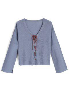 V Neck Pullover Lace Up Sweater - Bleu
