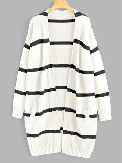 Drop Shoulder Striped Cardigan With Pockets - Off-white