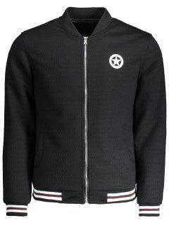 Textured Zipper Baseball Jacket - Black Xl