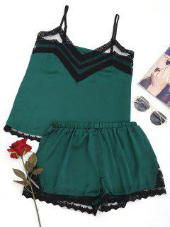 Lace Panel Satin Sleepwear Suit - Blackish Green S
