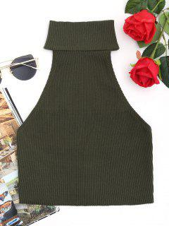 High Neck Ribbed Top - Army Green