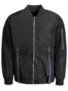 Double Zippers Bomber Jacket - Black 3xl