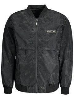 Printed Bomber Jacket For Men - Black L