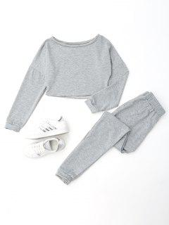 Distressed Cropped Sweatshirt And Jogger Pants Set - Gray L