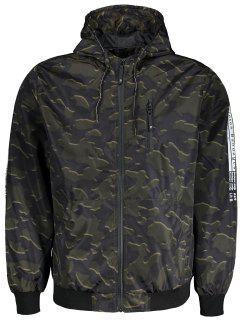 Hooded Camo Windbreaker Jacket - Acu Camouflage Xl
