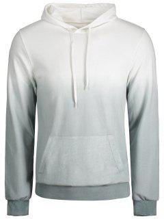 Kangaroo Pocket Ombre Hoodie - Grey And White 5xl