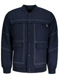 Sanp-button Bomber Jacket - Blue 2xl
