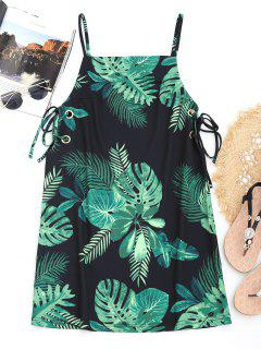 Leaf Print Lace Up Cami Beach Dress - Black S