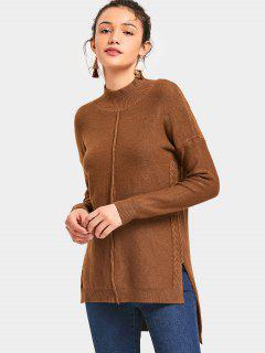 Side Slit High Neck High Low Sweater - Brun