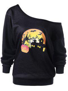 Halloween Plus Size Night Scene Sweatshirt - Black 4xl