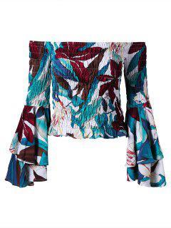 Aus Der Schulter Flare Sleeve Shirred Bluse - 2xl