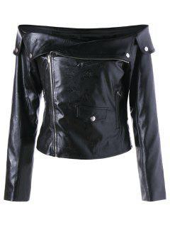 Zip Up Off The Shoulder Jacket - Black 2xl