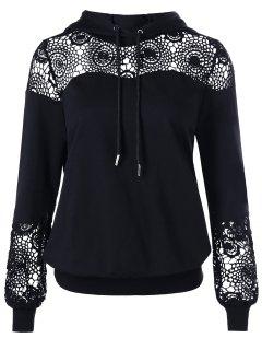 Crochet Lace Insert Drawstring Hoodie - Black L