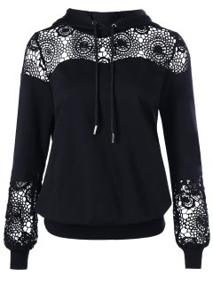 Crochet Lace Insert Drawstring Hoodie - Black Xl