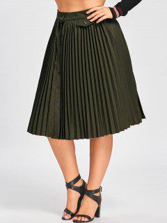 Plus Size High Waist Buttons Pleated Skirt - Army Green 5xl