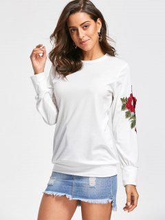 Embroidery Applique Sweatshirt - Off-white S